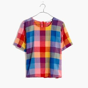 Boxy Button-Back Top rainbow Gingham Check sz L